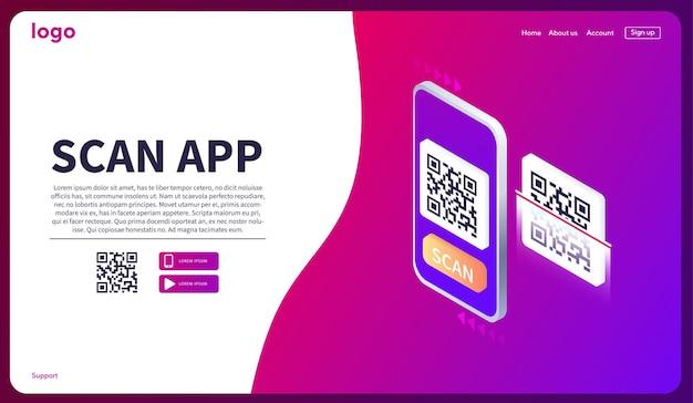 Изометрическое сканирование смартфона qr-код страница загрузки мобильного приложения веб-баннер concept web