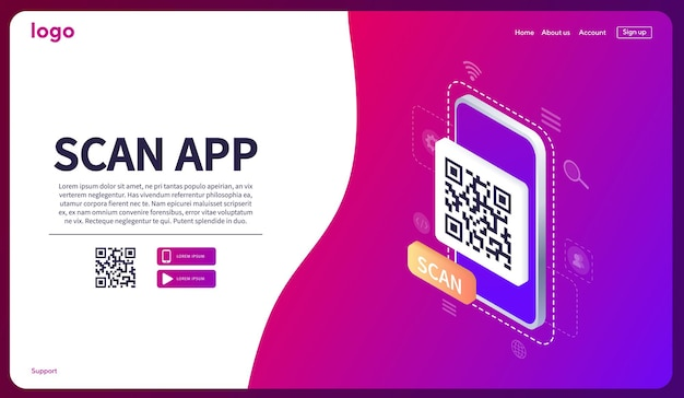 아이소메트릭 스마트폰 스캐닝 qr 코드 모바일 앱 웹 배너 개념 웹의 다운로드 페이지