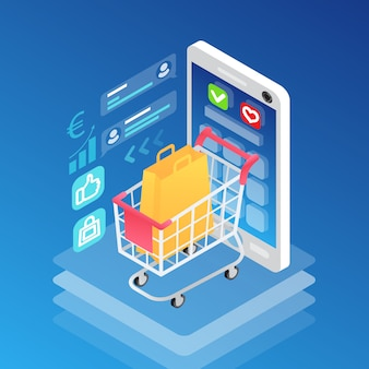 Isometric smartphone and shopping cart with bag