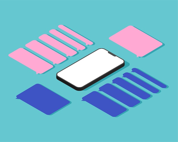 Isometric smartphone with blank dialog boxes. empty templates messaging speech bubbles.