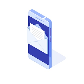 Isometric smartphone with email notification