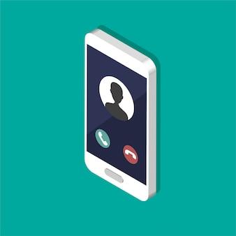 화면에 수신 전화가있는 아이소 메트릭 스마트 폰. 서비스 개념을 호출합니다. 전화를 받다. 벡터 현대 그림