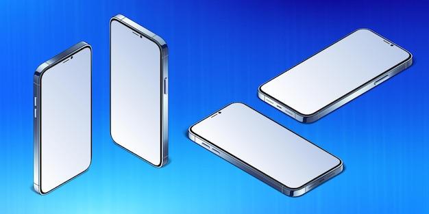 금속 프레임이 있는 아이소메트릭 스마트폰 빈 화면 모형이 있는 현대적인 휴대 전화