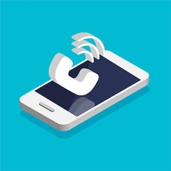 화면에 전화 통화와 아이소 메트릭 스마트 폰. 서비스 개념을 호출합니다. 전화를 받다. 벡터 3d 일러스트