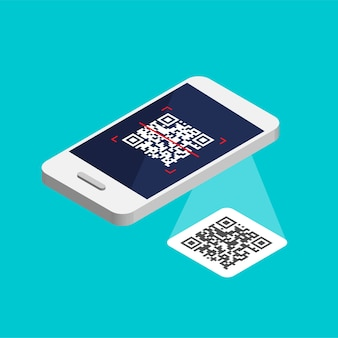 Isometric smartphone with qr code on screen. process scanning code by phone. qr label sticker solated