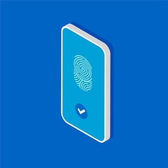 Isometric smartphone with scanning fingerprint. touch id in the mobile phone.