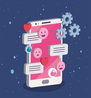 소셜 미디어 거품 이모티콘 및 기어 디자인, 멀티미디어 커뮤니케이션 및 디지털 테마가있는 아이소 메트릭 스마트 폰