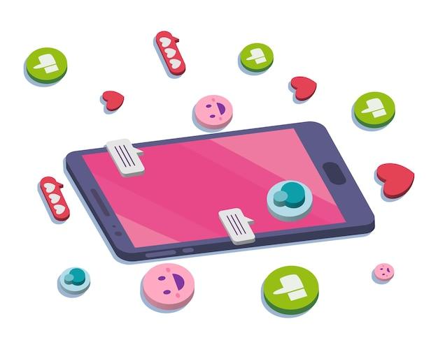소셜 미디어 거품이있는 아이소 메트릭 스마트 폰은 이모티콘과 하트 디자인, 멀티미디어 커뮤니케이션 및 디지털 테마를 좋아합니다.