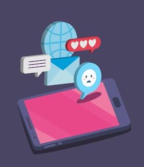 ソーシャルメディアアイコンセットデザイン、マルチメディア通信、デジタルテーマの等尺性スマートフォン