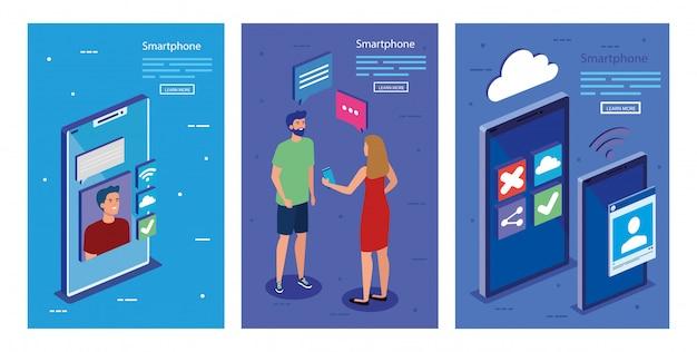 等尺性のスマートフォンと人々のベクターデザイン