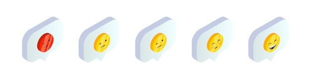 Isometric smile emoji symbols in speech bubble set. 3d social media feedback   icons