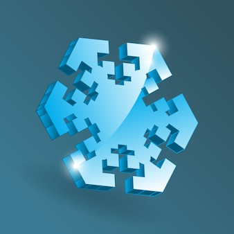 Isometric snowflake icon with various perspective shapes. simple blue snow flake element for christmas design and new year decoration