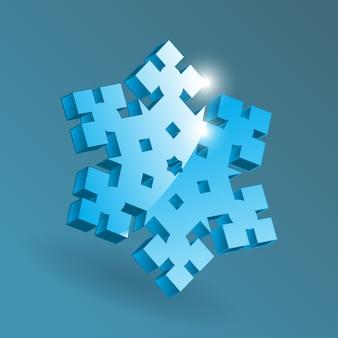 Изометрические снежинка значок с различными формами перспективы