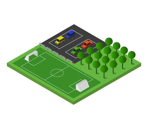 Isometric soccer field