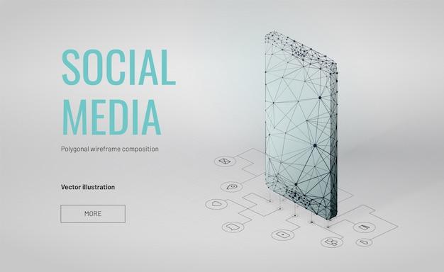 多角形のワイヤフレームスタイルと等尺性のソーシャルメディアの背景