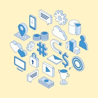Isometric social media icons around