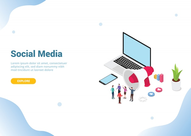 Isometric social media marketing for website