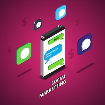 Isometric social media marketing