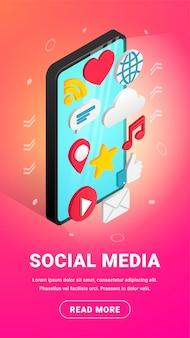 Изометрические социальные медиа вертикальный баннер дизайн с текстом и кнопкой. плоские иконки на экране смартфона вертикальной. 3d концепция с чат, видео, почта, телефон, облако, как, музыкальный знак. иллюстрация