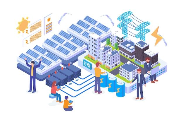 아이소메트릭 태양 에너지 도시 기술 벡터 개념