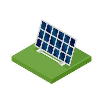 등각 투영 태양 전지판. 청정 에너지의 개념. 깨끗한 생태적 힘. 태양 에너지