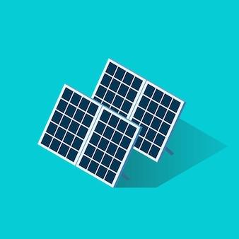 Изометрические значок панели солнечных батарей. векторная иллюстрация