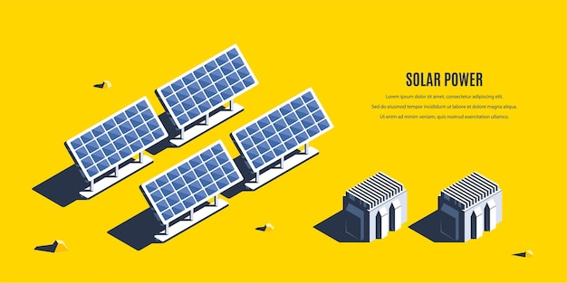 Isometric solar power plant. 3d concept of renewable energy