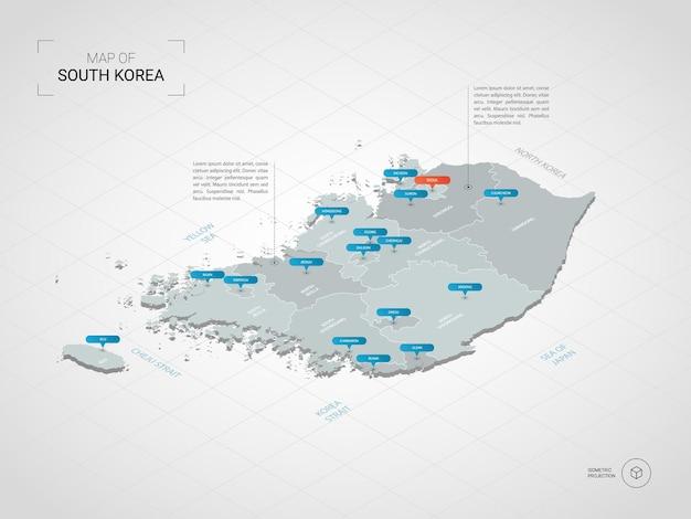 等尺性韓国地図。都市、国境、首都、行政区画、ポインターマークのある定型化された地図のイラスト。グリッドとグラデーションの背景。
