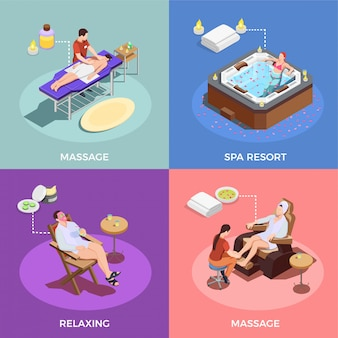Isometric spa salon scenes collection