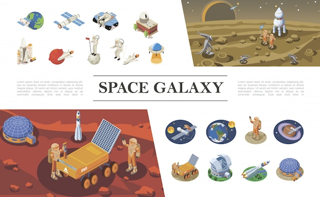 Isometric space elements composition with rockets spaceships shuttles astronauts meeting with aliens ufo space colony lunar rover different planets