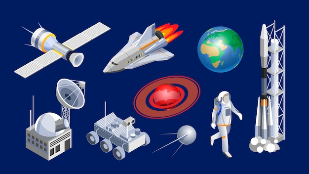 Isometric spaceships. space shuttle, cosmic rocket