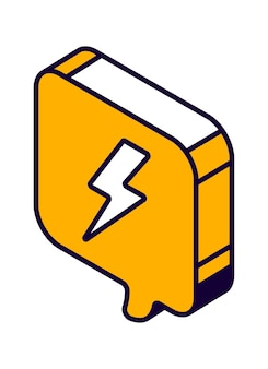 Isometric speech bubble with lightning sign, thunderbolt, danger symbol isolated vector icon