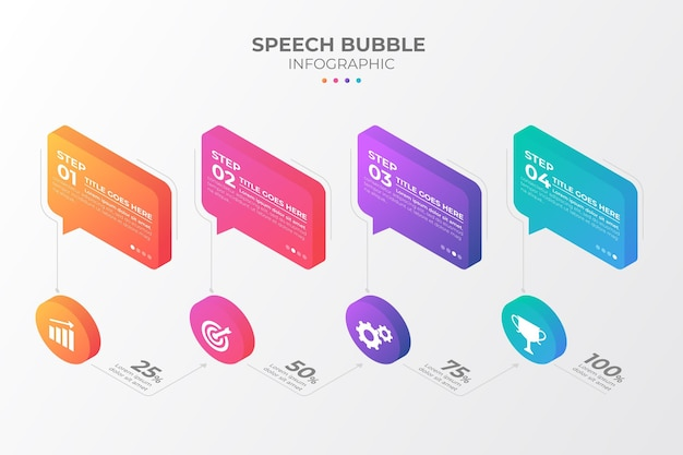 Isometric speech bubbles infographics