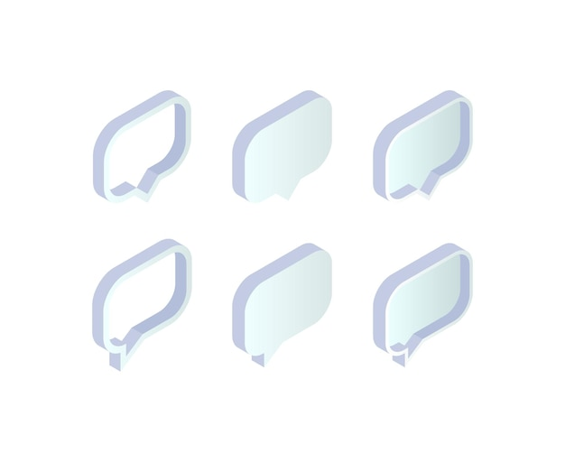 Isometric speech buble set. 3d empty message box collection on white background. vector illustration