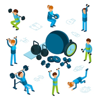 Isometric sport or fitness concept. male and female train, sporting goods isolated on white background