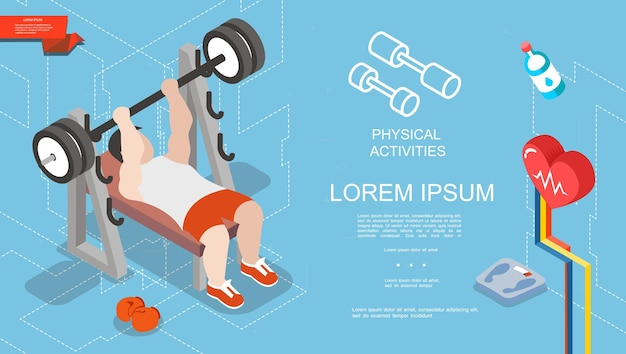 Isometric sport and fitness concept with strong man lifting barbell in gym boxing gloves scales water bottle  illustration