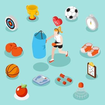 아이소 메트릭 스포츠 라이프 스타일과 피트니스 평면 3d 개념. 아이콘 농구와 축구 그림의 집합