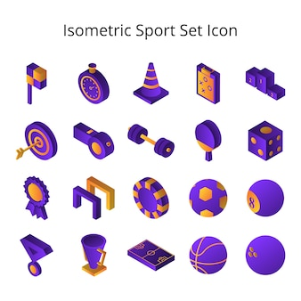 Isometric sport set icon