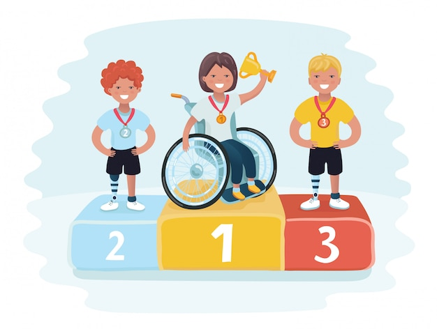 Isometric sports for peoples with disabled activity. gold, silver and bronze trophy medals on prize podium with confetti. first place award.