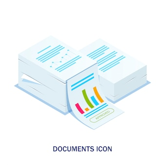 Isometric stack of documents with an approved stamp