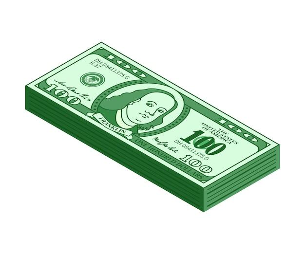 100ドルのアイソメトリックスタック。お金や偽の紙幣を再生します。ベクトルイラスト。