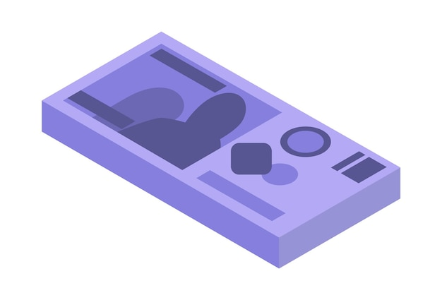 お金の等尺性スタック。通貨または現金のアイコン。紙幣の束。現金記号のスタック。白い背景で隔離のパックの手形