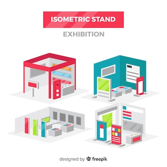 Isometric stand exhibition vector