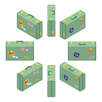 Isometric standing green travelers suitcases