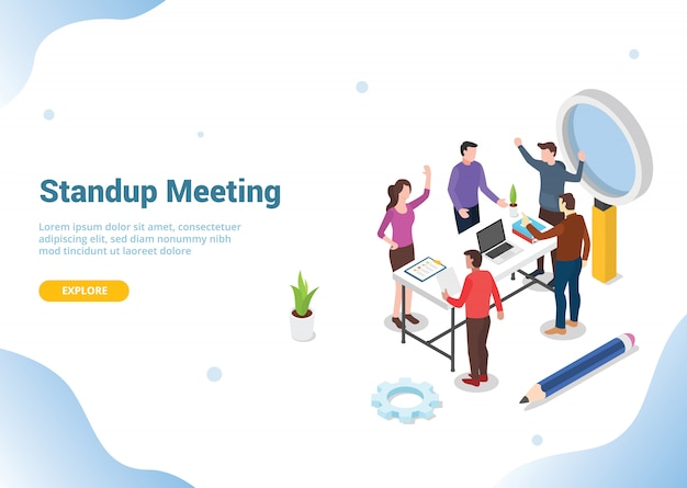 Isometric standing meeting concept for website
