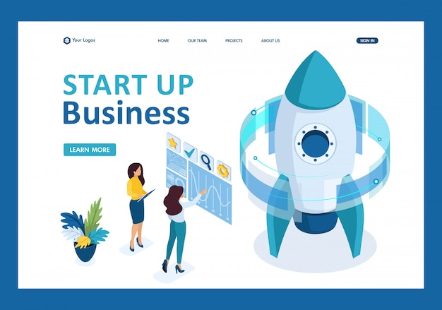 Isometric start up of a business project, a business woman working on a virtual screen landing page