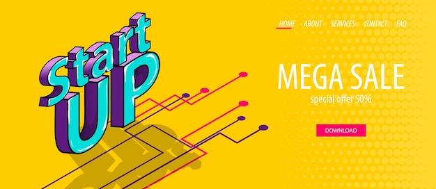 Изометрические запускающий баннер для цифрового бизнеса в мобильных приложениях инфографики комический текст 3d