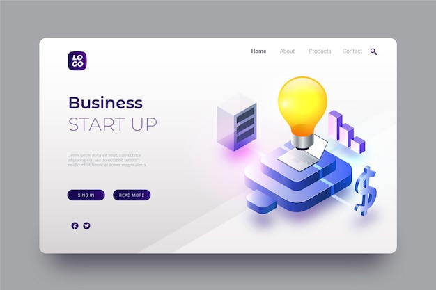 Isometric startup landing page template with light bulb
