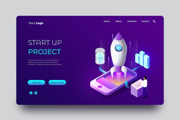 Isometric startup landing page template with rocket