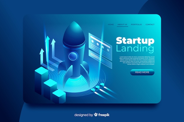 Isometric startup landing page template